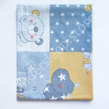 Хлопковая пеленка 100х80 см «Бегемот и мишка» Серая