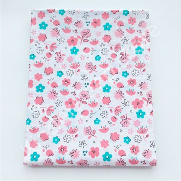 Хлопковая пеленка 100х80 см «Цветочки бирюзово-розовые» белая