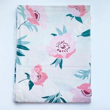Уценка! Хлопковая пеленка 100х80 см «Цветы» Белая (Присутствует фальш строчка)