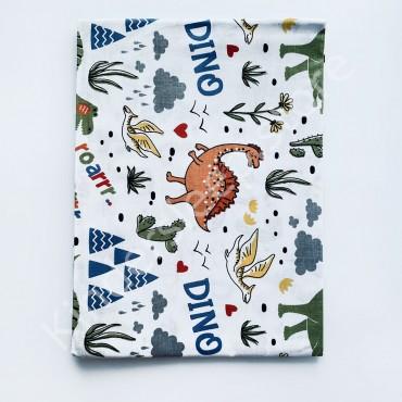 Хлопковая пеленка 100х80 см «Дино» Белая