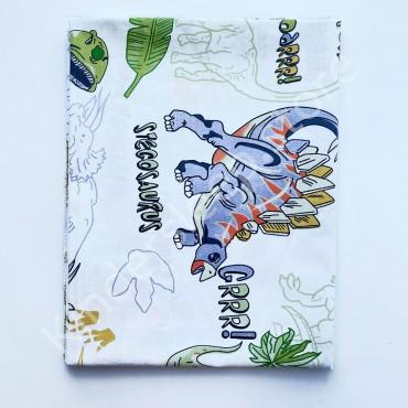 Хлопковая пеленка 100х80 см «Динозавры» Белая