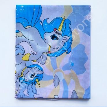 Хлопковая пеленка 100х80 см «Единорог голубой» Голубая