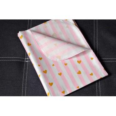 Хлопковая многоразовая пеленка «Сердечки №3» с глиттером