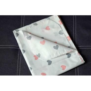 Хлопковая многоразовая пеленка «Сердечки»