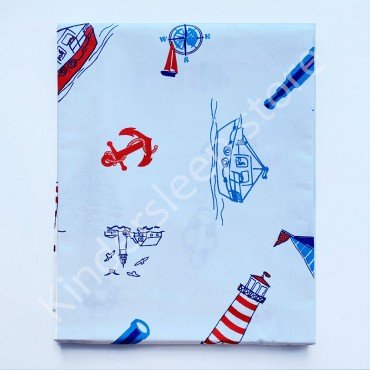 Хлопковая пеленка 100х80 см «Кораблики» Белая