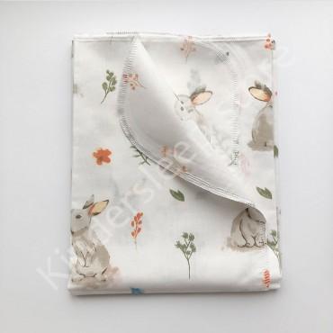 Хлопковая многоразовая пеленка «Лесной Зайчик» белая