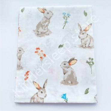 Хлопковая пеленка 100х80 см «Лесной Зайчик» белая