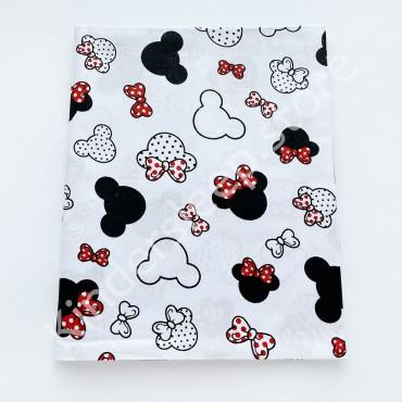 Хлопковая пеленка 100х80 см «Микки с красным бантом» белая