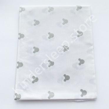 Хлопковая пеленка 100х80 см «Серебряные Микки с глитером» белая