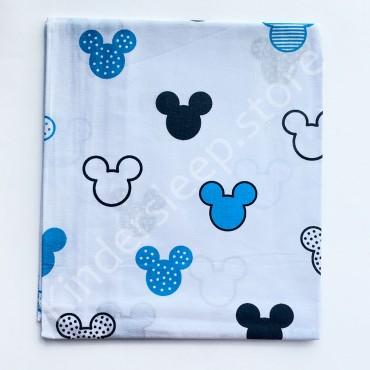 Хлопковая пеленка 100х80 см «Микки голубой» Белая