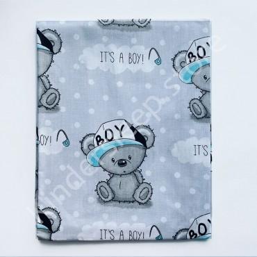 Уценка! Хлопковая пеленка 100х80 см «Мишка Тедди boy» Серая (Присутствует фальш строчка)
