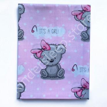 Хлопковая пеленка 100х80 см «Мишка Тедди girl» Розовая