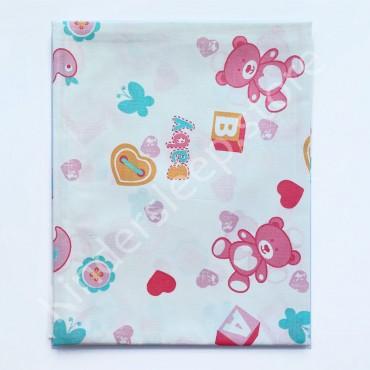 Хлопковая пеленка 100х80 см «Baby мишки розовые» Белая