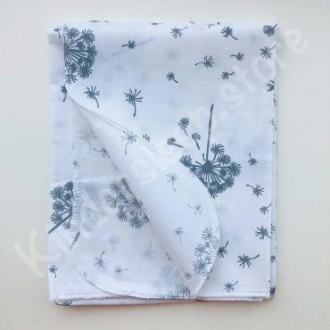 Хлопковая многоразовая пеленка «Серые Одуванчики» белая