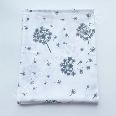 Хлопковая пеленка 100х80 см «Серые Одуванчики» белая