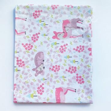 Хлопковая пеленка 100х80 см «Олененки розовые» Белая