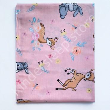 Хлопковая пеленка 100х80 см «Олененок и зайчик» Розовая