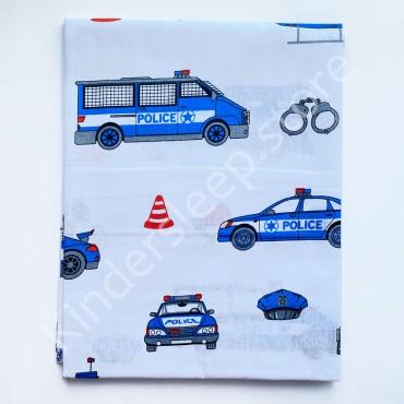Уценка! Хлопковая пеленка 100х80 см «Police (Полиция)» Белая (Присутствует фальш строчка)