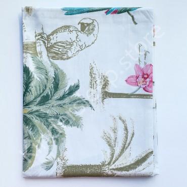 Хлопковая пеленка 100х80 см «Попугай» Белая