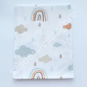 Хлопковая пеленка 100х80 см «Радуга и дождик» белая