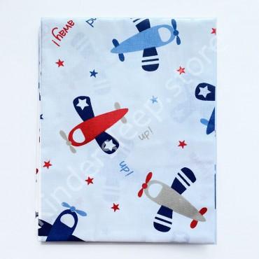 Хлопковая пеленка 100х80 см «Самолеты» Белая