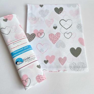 Хлопковая пеленка 100х80 см «Сердца серо-розовые» Белая