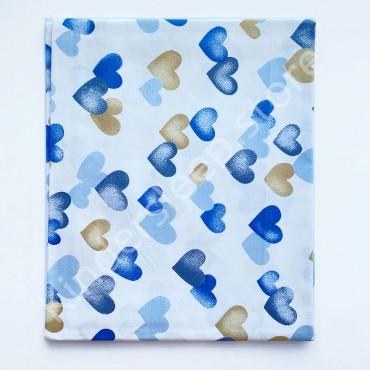 Хлопковая пеленка 100х80 см «Сердца сине-голубые» Белая