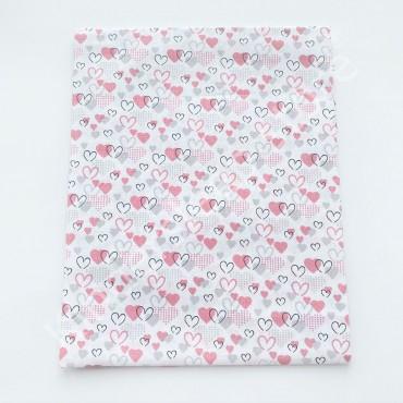 Хлопковая пеленка 100х80 см «Сердечки маленькие серо-розовые» белая