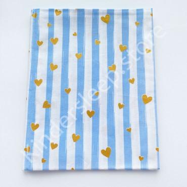 Хлопковая пеленка 100х80 см «Сердечки  с глиттером» голубая