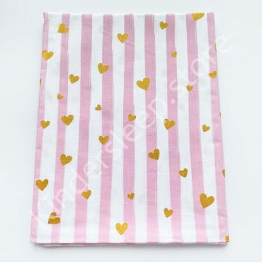 Хлопковая пеленка 100х80 см «Сердечки с глиттером» розовая