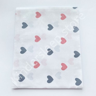 Хлопковая пеленка 100х80 см «Сердечки серо-розовые» белая