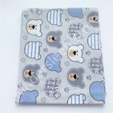 Хлопковая пеленка 100х80 см «Серо-белые Мишки» серая
