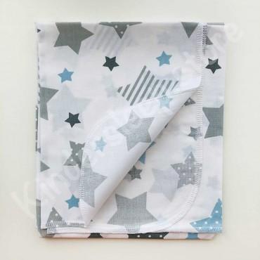 Хлопковая многоразовая пеленка «Серо-голубые Звезды» белая
