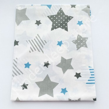 Хлопковая пеленка 100х80 см «Серо-голубые Звезды» белая