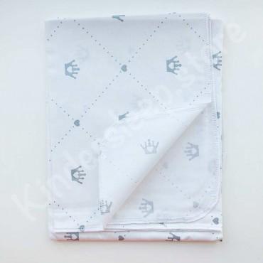 Хлопковая многоразовая пеленка «Серебряные Короны с глиттером» белая
