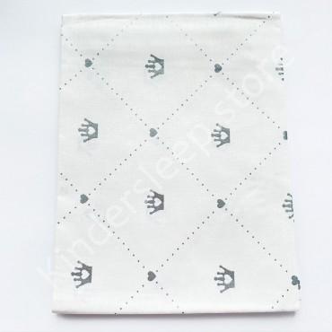 Хлопковая пеленка 100х80 см «Серебряные Короны с глиттером» белая