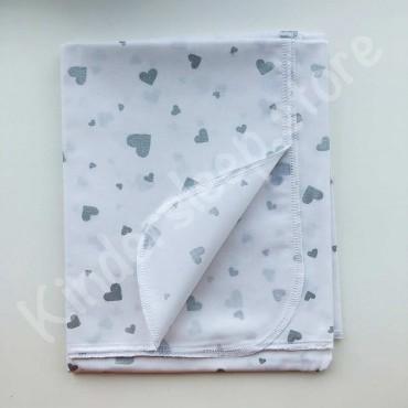 Хлопковая многоразовая пеленка «Серые Сердца с глиттером» белая