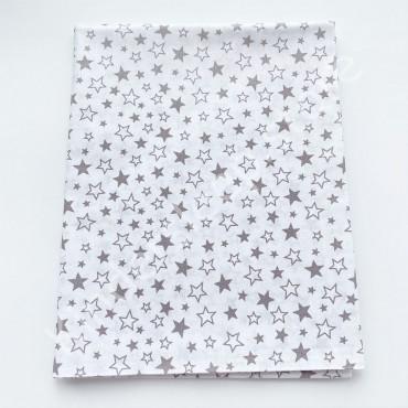 Хлопковая пеленка 100х80 см «Серые Звездочки» белая