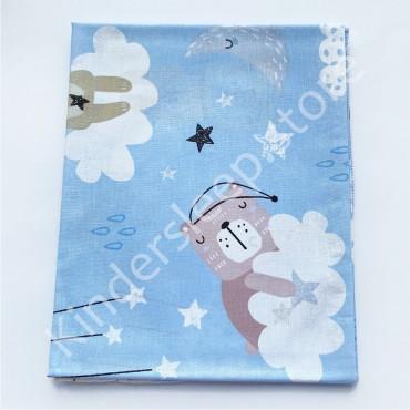 Хлопковая пеленка 100х80 см «Сонный Мишка» голубая
