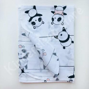 Хлопковая многоразовая пеленка «Веселые Панды» белая