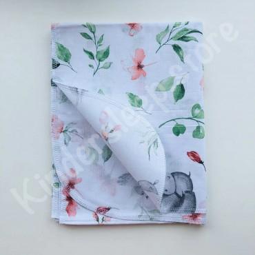 Хлопковая пеленка 100х80 см «Зайка и цветы» белая