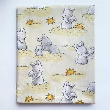 Хлопковая пеленка 100х80 см «Зайки на солнышке» Светло-желтая