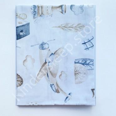 Хлопковая пеленка 100х80 см «Железная дорога» Белая
