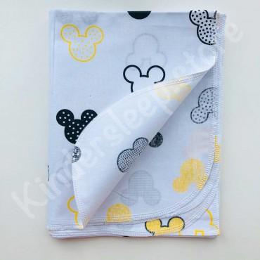 Хлопковая многоразовая пеленка «Желто-серые Мики» белая