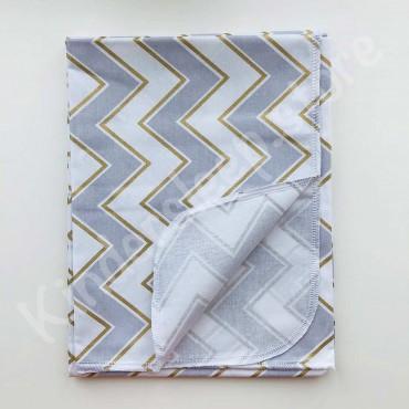 Хлопковая пеленка «Зигзаг голубо-золотая с глиттером» белая