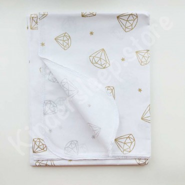 Хлопковая многоразовая пеленка «Золотой Бриллиант с глиттером» белая
