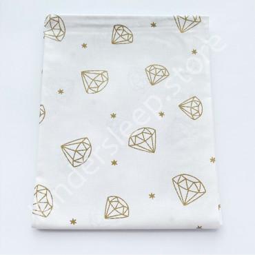 Хлопковая пеленка 100х80 см «Золотой Бриллиант с глиттером» белая