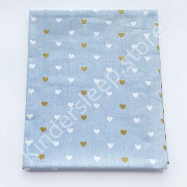 Хлопковая пеленка 100х80 см «Золотые и белые Сердца с глиттером» голубая