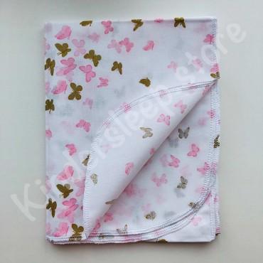 Хлопковая пеленка 100х80 см «Золотые и розовые Бабочки с глиттером» белая