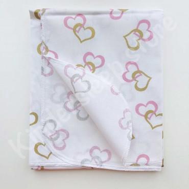Хлопковая пеленка «Золотые и розовые Сердца с глиттером» белая